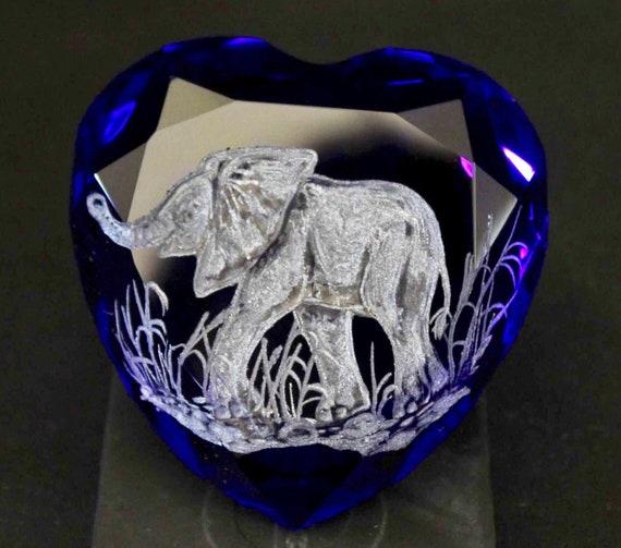 HandEngraved Elephant paperweight, cobalt blue paperweight, hand Engraved glass, office decor, paperweights, heart