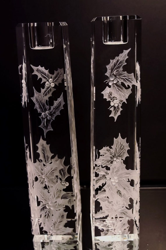 Hand Engraved crystal Candleholder, Holly, home decor, etched, handengraved, candlesticks,office decor, crystal gift, christmas candlesticks