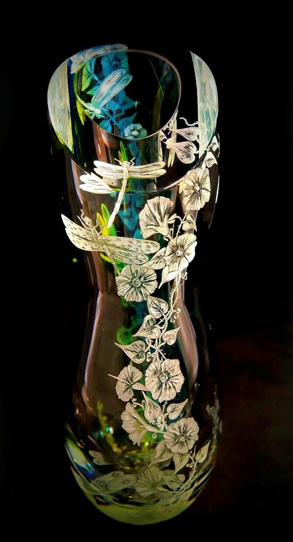 vase, kosta Boda, glass art, wedding gift, home decor, holiday, handengraved, crystal vase, Kosta Boda vase, handbown vase