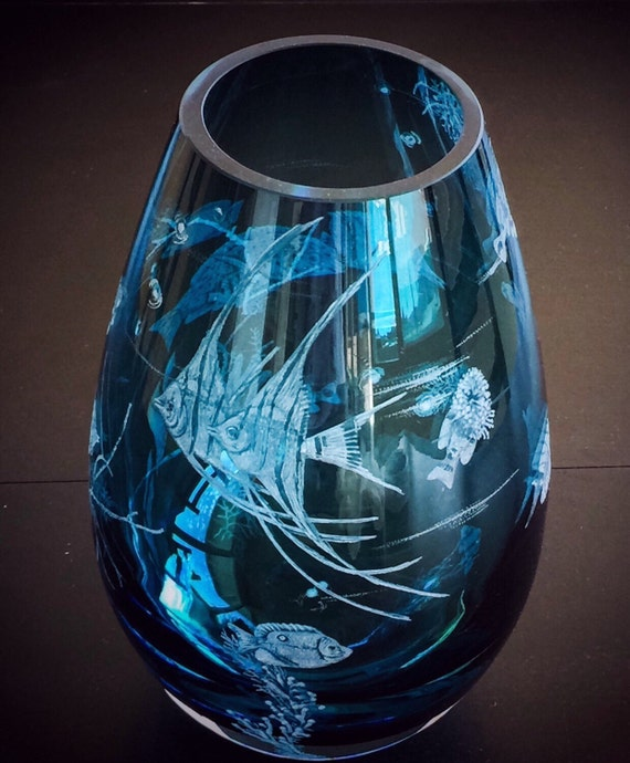 Hand Engraved Coral fish vase. Freehand engraving, one of a kind.