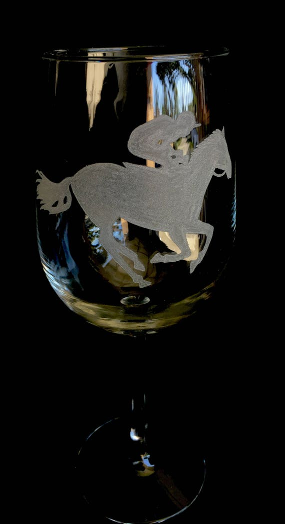 HandEngraved wine glass Horse and Jockey