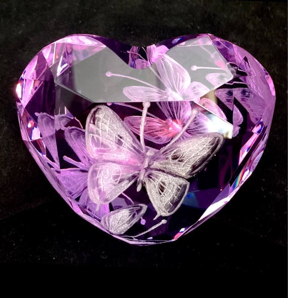 Hand Engraved Purple Paperweight Butterflies, Office Decor, Home Decor, Etched Butterflies, office decor, Butterflies crystal Paperweight