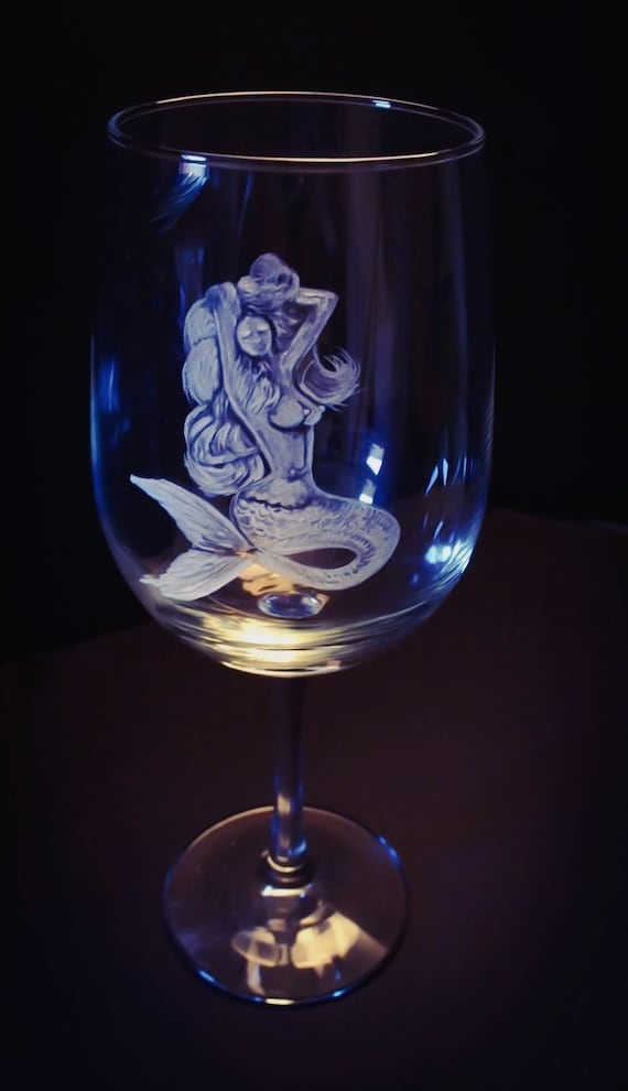 Mermaids, handengraved, drinkware, barware, wedding gifts, holiday gifts