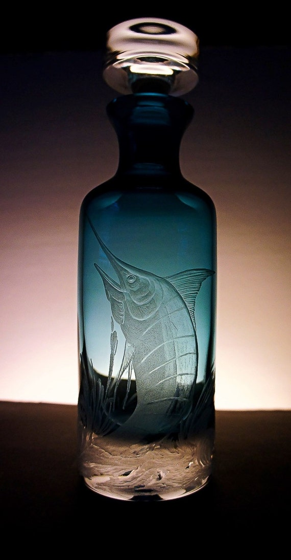 Marlin, blue, glass, Crystal, etched, handengraved, free hand, fish, bluemarlin, fathers day, wedding gift, decor