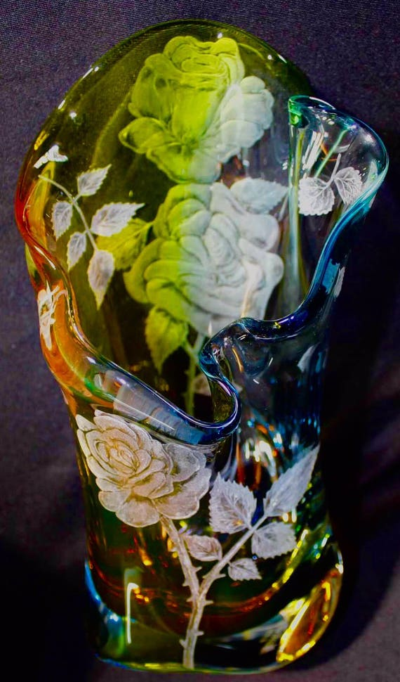 Hand Engraved Vase Roses, Engraved Glass Rose flower, Etched Crystal Vase, Floral vase, Engraved Vase, Vase Glass