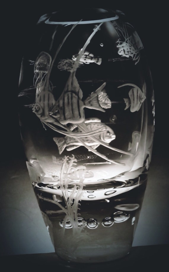 Hand Engraved Coral Fish Vase, wedding, hand carved, etched vase,home decor, house warming, retirement gift, Mothers Day Gift, Crystal