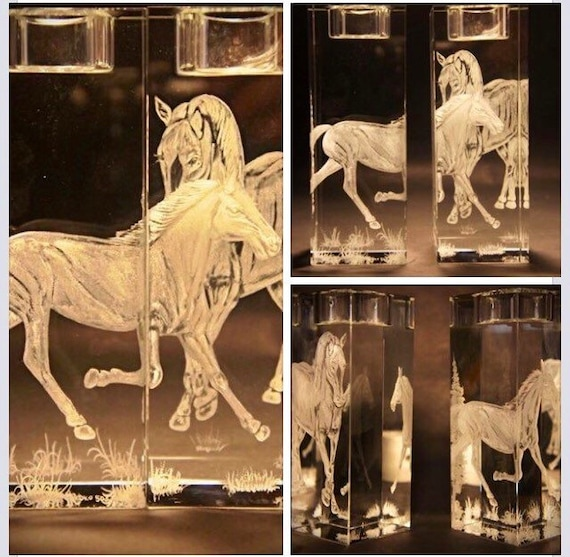 Hand Engraved crystal Candleholder, Horses, home decor, etched, handengraved, candlesticks,office decor, crystal gift, housewarming