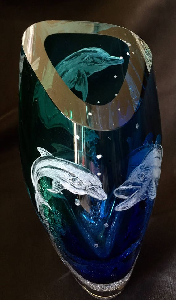 Hand Engraved Dolphin Vase, Glass Engraving, Dolphins, Vase Etched, Engraved glass