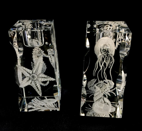 Pair of Hand Engraved Coral Fish crystal candlesticks, engraved crystal gifts, office decor, home decor, crystal candlesticks,
