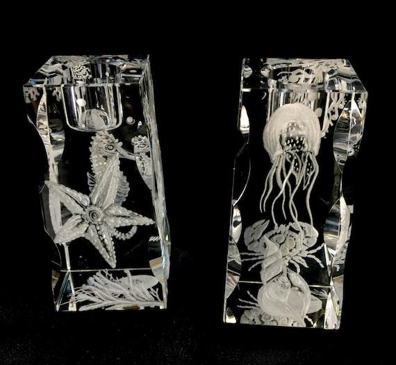 珊瑚魚水晶雕刻燭臺