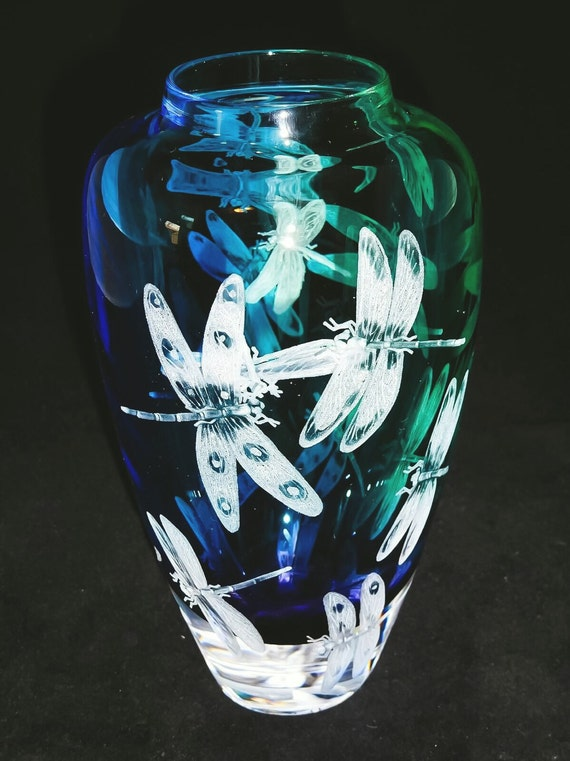 Hand Engraved Glass Vase, Dragonflies, Art Glass, engraved, weddings, gifts, Mothers day, Home Decor,Dragonfly, functional art