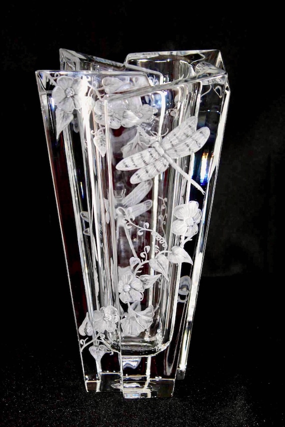 Hand Engraved Vase, Floral and Dragonflies, Orrefors Glacial Vase, Crystal Vase, Engraved Vase, Dragonflies, Wedding Gifts