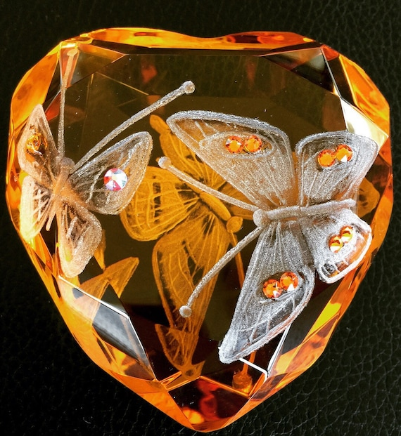 Hand Engraved Swarovski Butterfly Paperweight, Engraved Paperweight, Butterflies, crystal, Home decor, hand engraved, Office decor, gifts