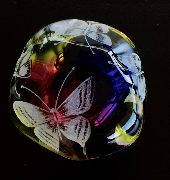 Hand Engraved Butterfly Paperweight Butterflies, Large Butterfly Paperweight customized Paperweight, Retirement Gift