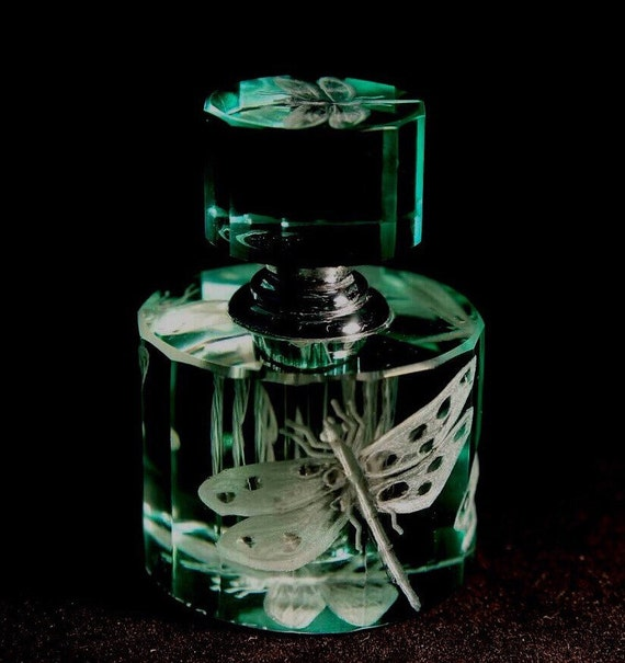 Hand Engraved Crystal Perfume Bottle, dragonflies, vanity tray, collectible, art collector, Customized bottle, Mothers day gifts