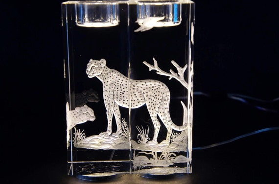 Hand Engraved crystal Candleholder, Cheetah, home decor, etched, handengraved, candlesticks,office decor, crystal gift, housewarming, pair