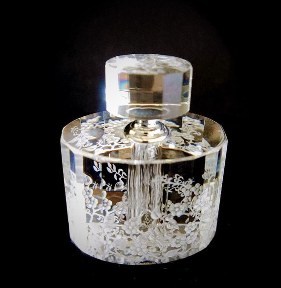 Sensation galore, crystal perfume bottle hand engraved, valentines, mothersday