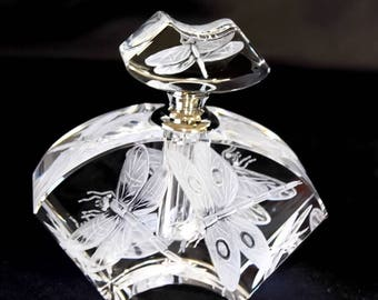 Hand Engraved Perfume Bottle Dragonflies, Oleg Cassini Crystal, Perfume Bottle,Crystal etch, Home Decor, Engraved Glass, Etched dragonflies
