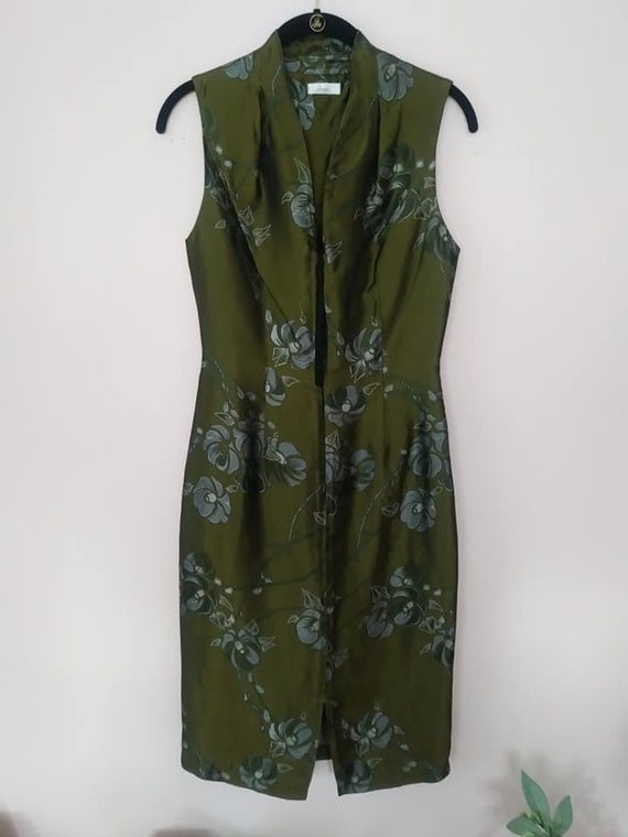 Vintage Asian Green Silk Dress