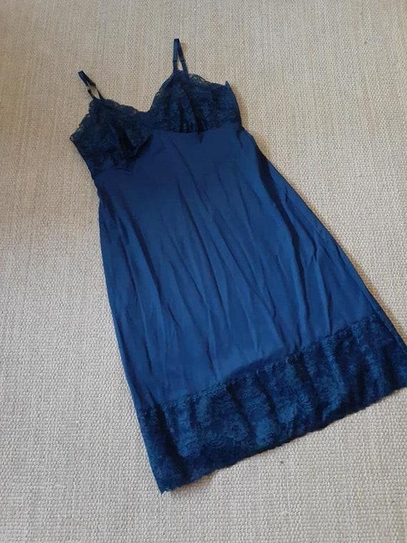 Lingerie Full Slip Van Raalte Dark Blue Lace Size