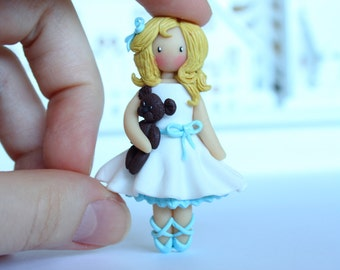Polymer clay brooch little girl - little ballerina with a teddy bear