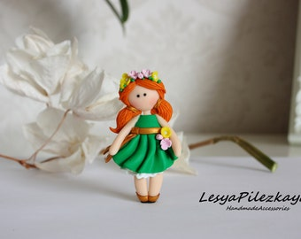 Polymer clay brooch little girl in green with flowers - spring/summer brooch