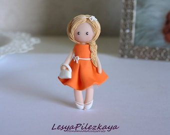 Polymer clay brooch little girl in coral dress