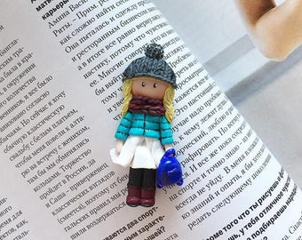 Polymer clay brooch little girl with scarf, backpack and hat