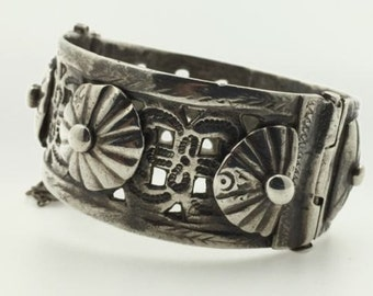 Antique Silver Moroccan Bracelet Berber Ethnic Tribal Wide with Rosettes & Hinge- Fes or Mekness, Morocco