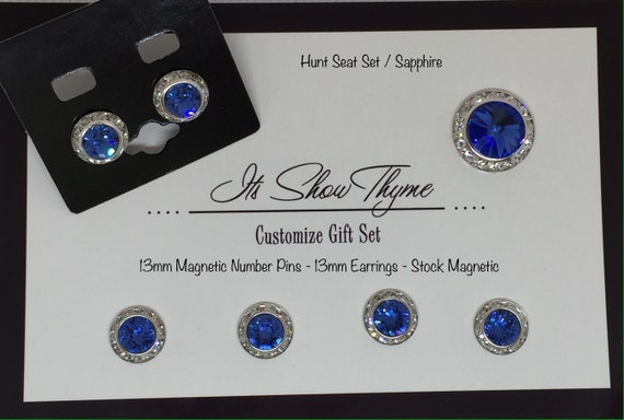 13mm Sapphire Horse Show Competition Earring