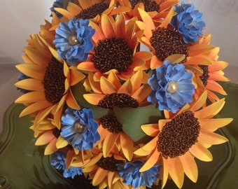Sunflower Wedding Bouquet, Paper Flower Bouquet,
