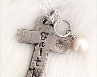 Cross necklace, personalized cross, faith jewelry, scripture jewelry
