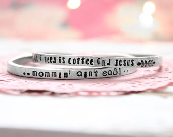 Mom Stackable bracelets | Stacking bracelet set | Personalized Cuff | Custom bracelet | Stacking cuffs | Name bracelet | Names cuff | mom