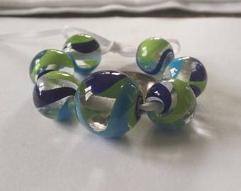 Green, Blue & Turquoise Swirled on Transparent Clear Handmade Glass Lampwork Round Beads, Bead Set of 7, SRA