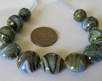 Lampwork glass beads, Blue, Green, white and silver swirled, lampwork bead set, beachy beads, SRA, set of 11