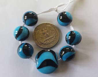 Turquoise Blue and Black Swirled Glass Handmade Lampwork Round Bead Set, Set of 7, SRA