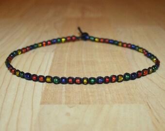 Rainbow Choker Rainbow Necklace Rainbow Jewelry Beaded Choker Necklace Beaded Necklace Choker Hemp Pride Choker Pride Necklace Pride Jewelry