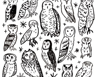 Owl Magic Coloring Page Digital Download