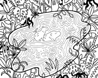 Capybara Jungle Coloring Page Digital Download