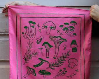 Mushroom & Herb Screen Printed Bandana 100% Cotton
