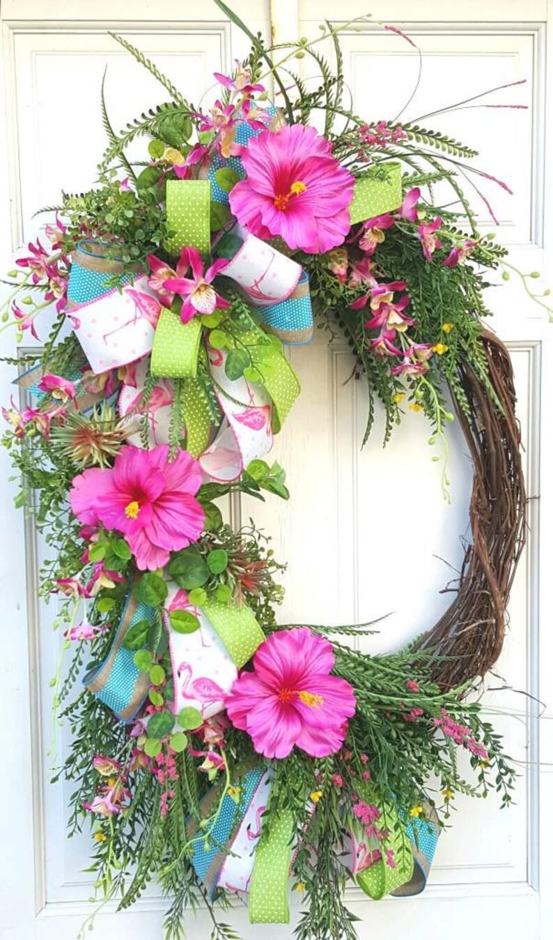 Tropical Flamingo Wreath Spring Summer Wreath Tropical Etsy
