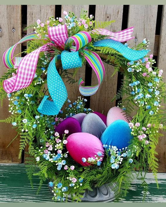 Easter Basket Centerpiece, Easter Decorations, Velvet Easter egg  arrangement, Spring centerpiece, Front Porch Decor, Unique gift ideas