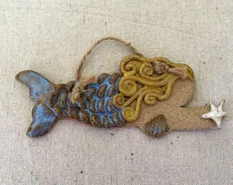 Ceramic Whimsical Mermaid Ornament