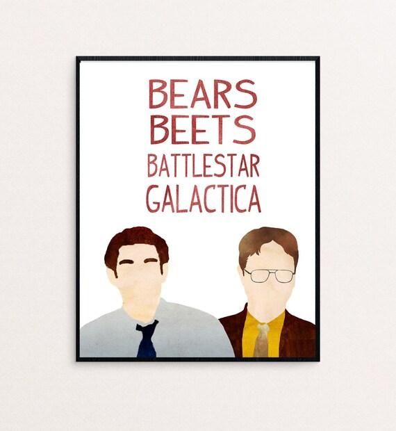 Bears Battlestar Galactica Fine Art Print The Office Dwight Schrute Live Beets