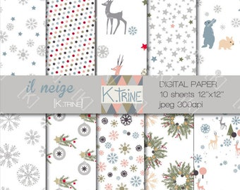 """Paper digital theme """"it snows"""" to download and print yourself"""