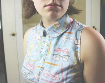 Retro Writer Dress - Peter Pan Collar, Collared, Glasses, Pencils, Author, Literary Gift