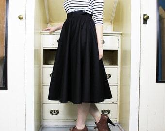 Black Midi Circle Skirt - Full, Long, Rockabilly, Retro, High Waist, Waisted, Skater, Pinup