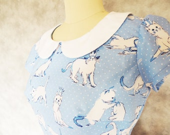 Kitty Cute Dress - Peter Pan Collar, Cat, Polka Dot, Blue, Women's Dress