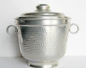 Aluminum ice bucket, mid century modern bar accessory, hammered aluminum barware