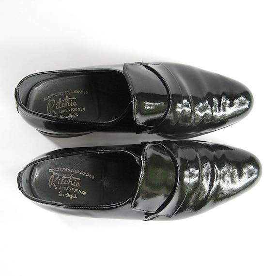 e3b977407a6e3 Men's vintage patent leather slip on shoes, Size 8 black patent shoes,  men's dress shoes, wedding accessory